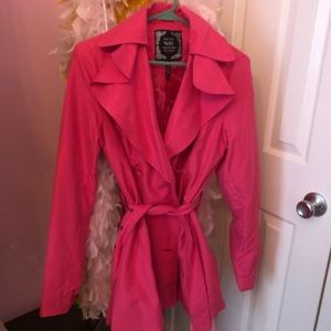 Jackets & Blazers - Hot pink lightweight trench jacket